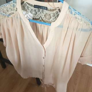 Chiffon And Lace Shirt $10 Size S