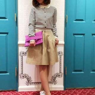 日本 dazzlin 新品  超低折扣款  條紋針織外套-桃紅