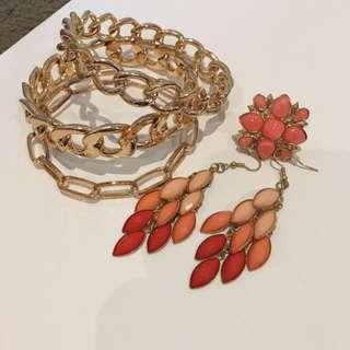 Orange/pink Costume Jewellery Set