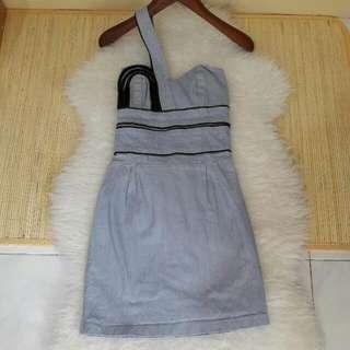 One-shoulder Jeans Mini Dress