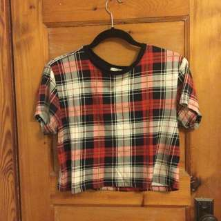 Cropped Plaid Top Size Medium