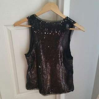 Two Tone Sequin Top