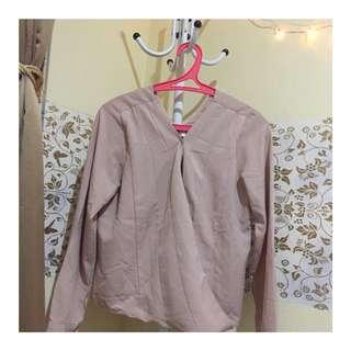 Long sleeve V neck blouse