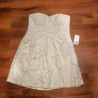 Forever 21 padded lace tube dress in cream