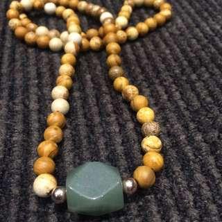 Wood Jasper Bead Necklace With Jade Pendant