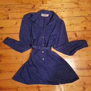 Vintage Cinched Blue Dress