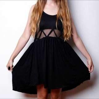 Stylestalker - Black Dip Hem Dress
