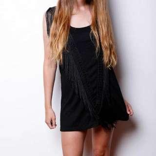 Sleeveless Black Tassel Dress