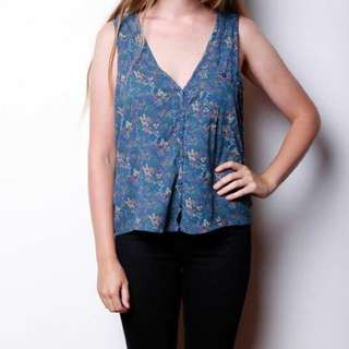 Floral Button Up Crop Vest