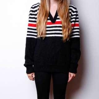 Vintage Hand Knitted V Neck Sweater
