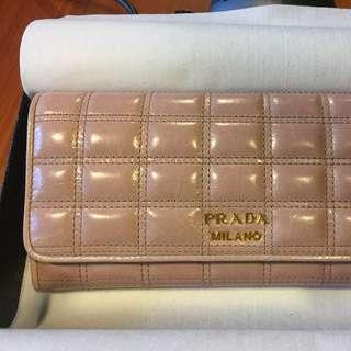 PRADA 經典方格嫩膚粉紅色女用長皮夾