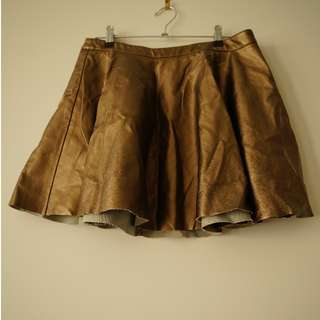 Bettina Liano Gold leather like skirt.