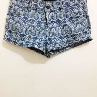 Forever21 Printed Denim Shorts