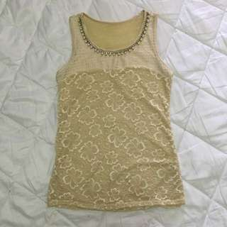 Pearl Laced Sleeveless Top