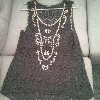 Black Crochet Top