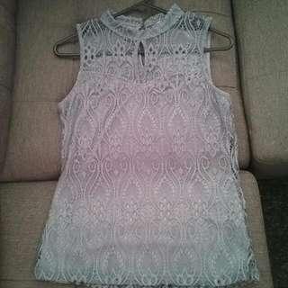 Bluey/grey Crochet Temt Top