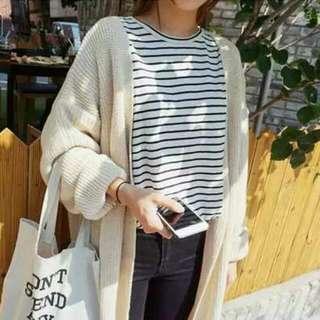 韓國ulzzang 純色寬鬆中長款針織外套