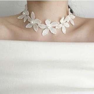 韓版時尚白色蕾絲珍珠花朵拼接項圈