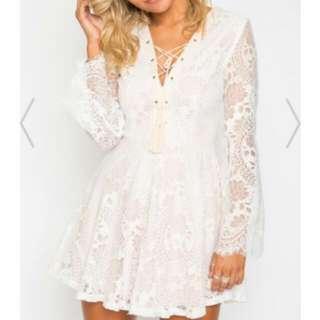 White / Tan 'Indikah' Dress