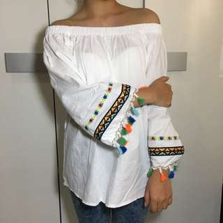 NEW White Boho Off Shoulder Top Tassel