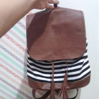 Stripe Tassel Backpack