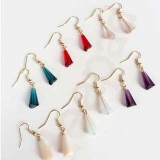 韓版水晶玻璃切面吊墜耳環