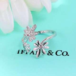 韓版小花鑲鑽開口戒指