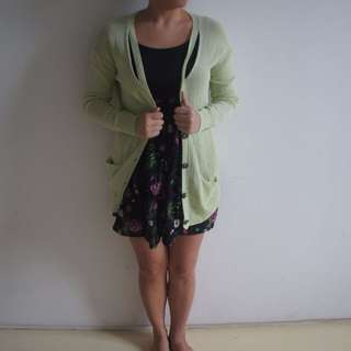 S-M Mint Green cardigan with slits