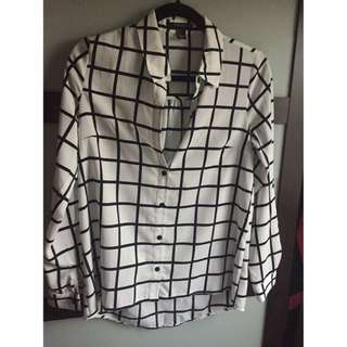 Checkered Black/White Blouse