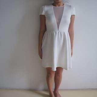 Miss Shop Size 10 Embossed Mesh Cutout White Skater Dress Cap Sleeve