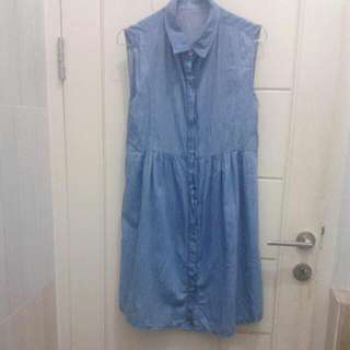 REPRICE 2in1 Denim Dress Or Outer (Bonus Shawl) (Atasan)