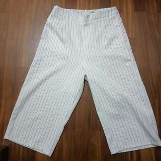 White Pinstriped Culottes (Wide Leg Pants)