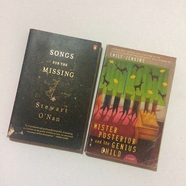 2 for 120 // Songs for the Missing by Stewart O 'Nan // Mister Posterior and the Genius Child by Emily Jenkins ❣RESERVED ❣