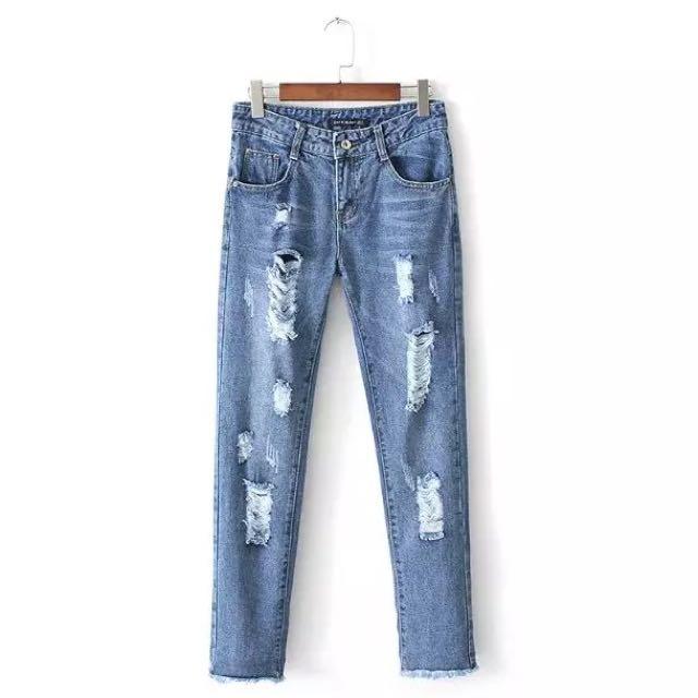 全新牛仔破褲 尺寸L  褲長96 腰圍80 臀圍108