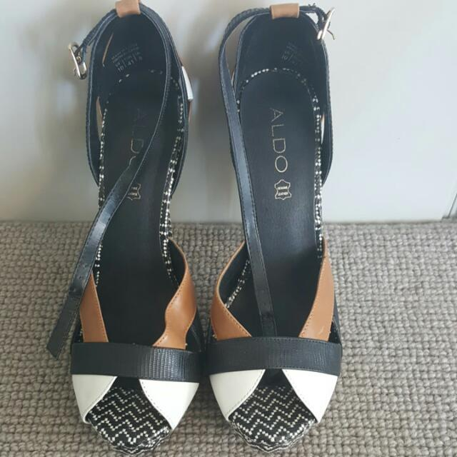 Reduced - Aldo Camel, Black And White Sandals - Size 41