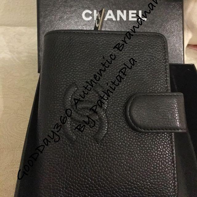 Authentic Chanel Cc Caviar Leather Bifold Wallet Purse Black.