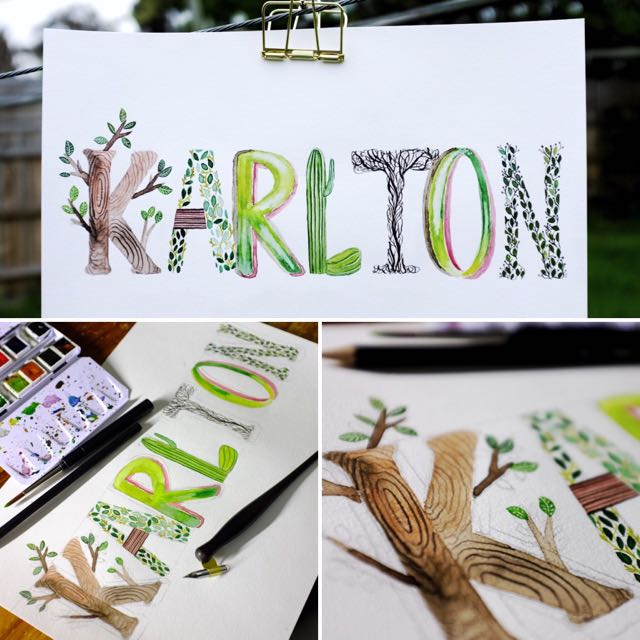 Baby Name Illustration - Baby Shower Gift, New born Baby Gift, Woodland, Greenery