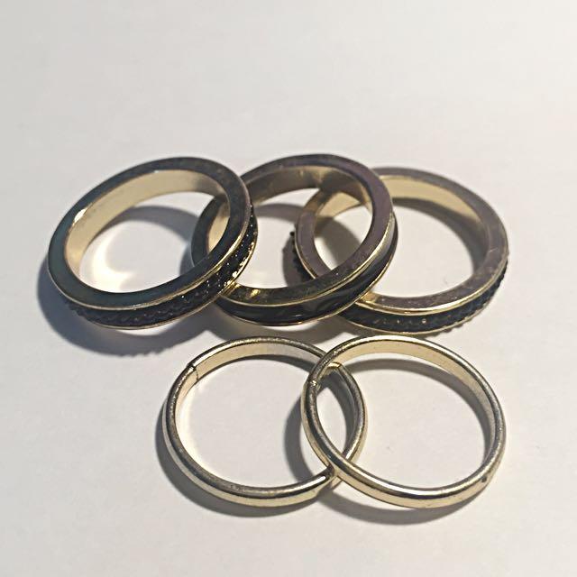 Black&Gold Rings Set
