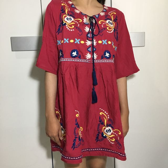 Boho Tassel Red Dress / Top Bordir
