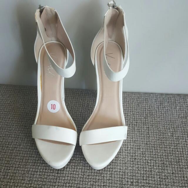 Brand New White Sandals - Size 10