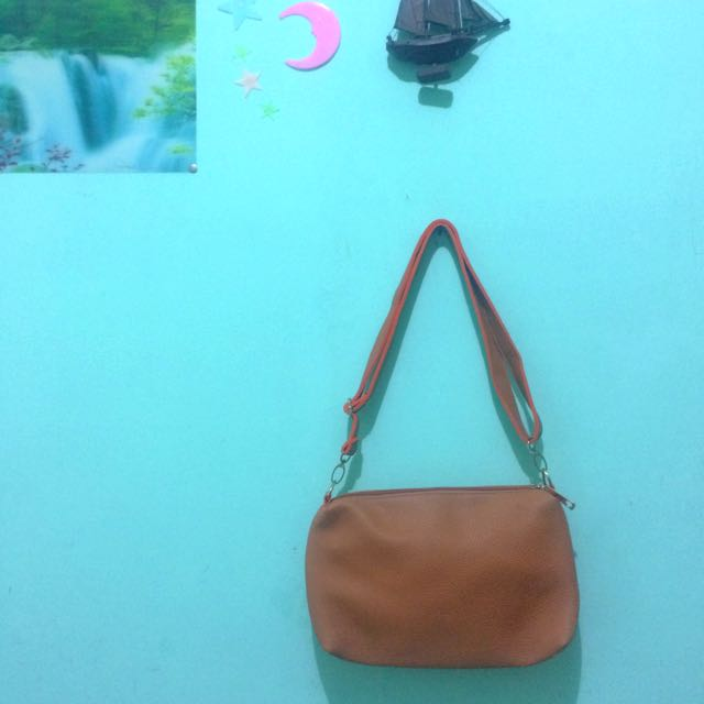 Brown Orange Sling Bag