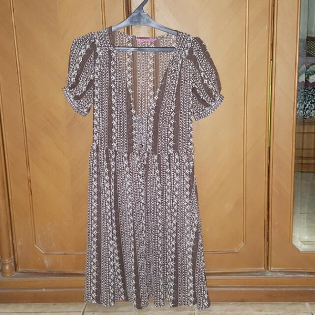 Brown (White Floral Motif) Dress