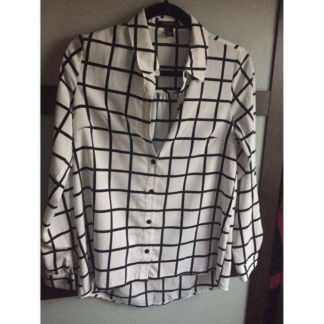 Checkered Black/White Blouse