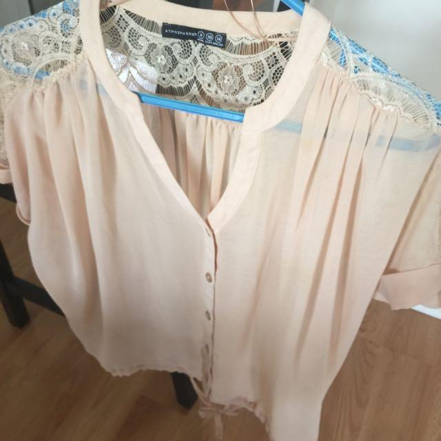 Chiffon And Lace Shirt $10 Size S