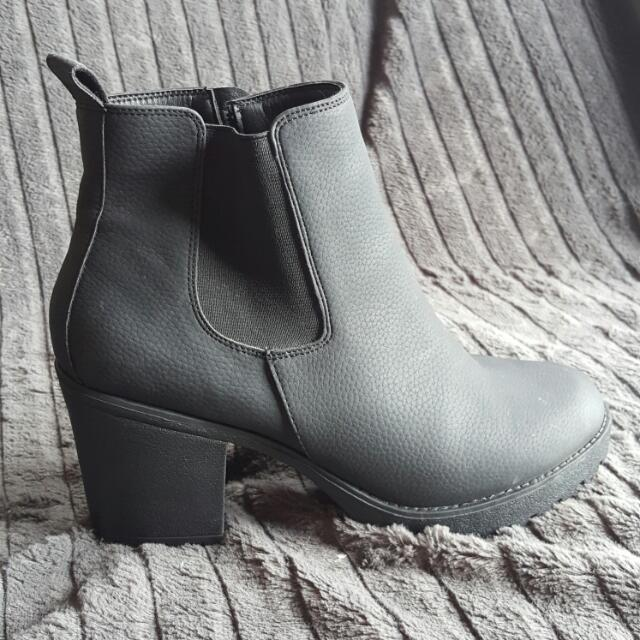 Chunky Black Boots Size 10 Worn Once