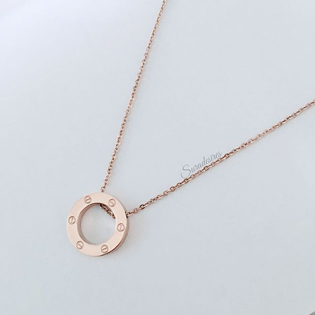 Circle Eternity Rose Gold Necklace Cartier Inspired