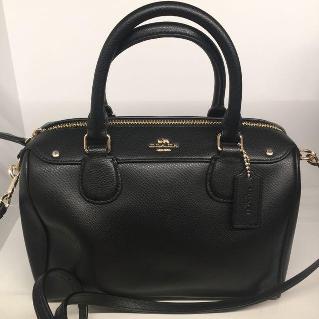 3e1011c26d COACH Black Crossgrain Mini Bennett Leather Crossbody Satchel Bag ...