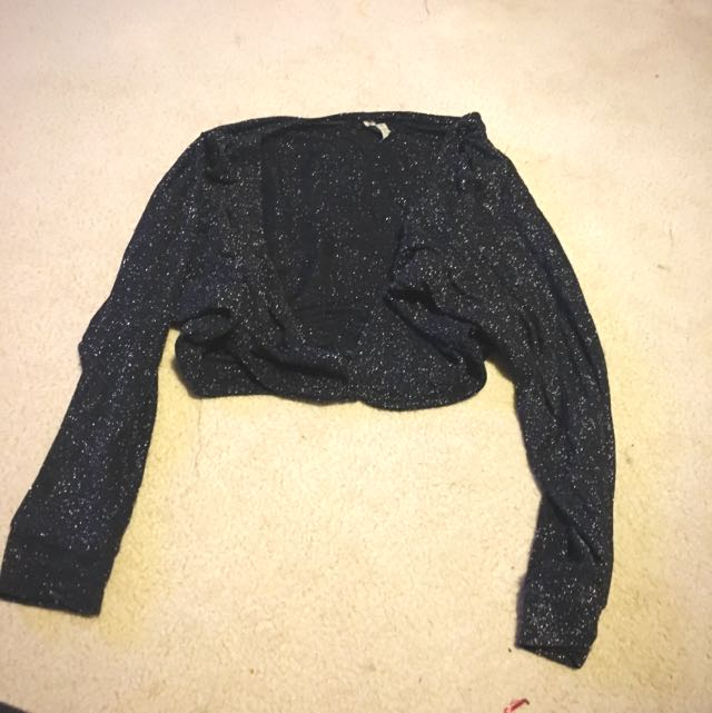 Cropped Cardigan With Sparkles
