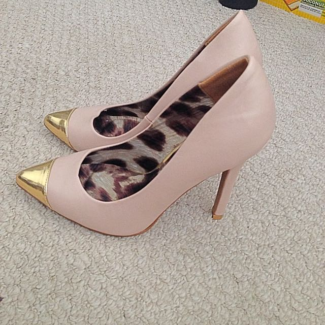 Gold Front Pointy Heels