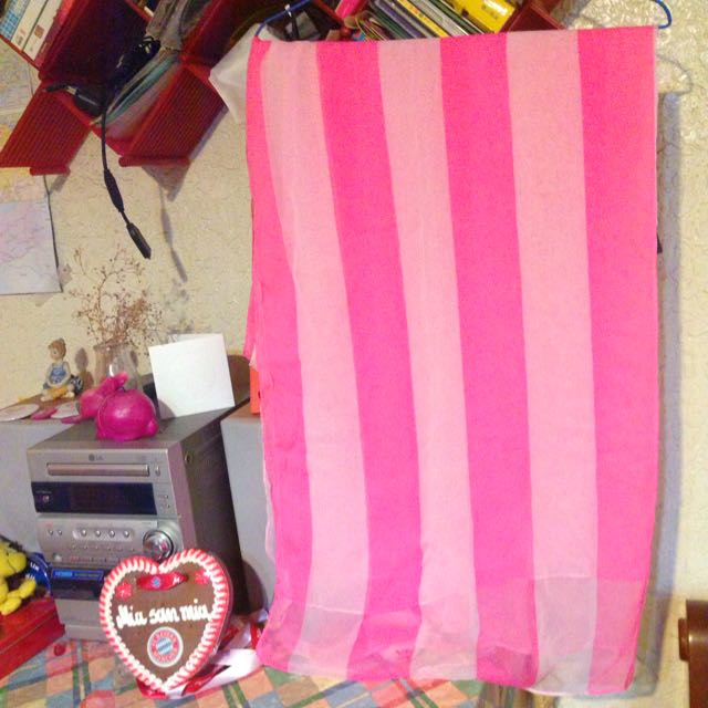 H&M 條紋粉紅長絲巾